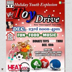 Donate toys now thru Dec. 18th 2017 Drop off locations are at Sturgis Playground 200-220 W. 65th Ave. Phila Pa 19126 and Heat100radio 8325 Stenton Ave  Event date is Dec. 23rd at Olney Recreation Center from 12:00 noon to 4:00pm  Please register your child in advance.  #angwrytes #ssbreeze #tkdre #poets #poetry #spoken word #radio #underground #comedians #writers #underground #iheart #music #poets #rappers #hosts #comedians #writers #entertainment #actors #movies #producers #sixers #eagles #phillies #flyers