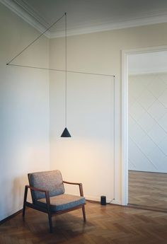 "String Lights by Michael Anastassiades for Flos via Archello.   ""Minimal and poetic like a pencil line drawn in the air"""