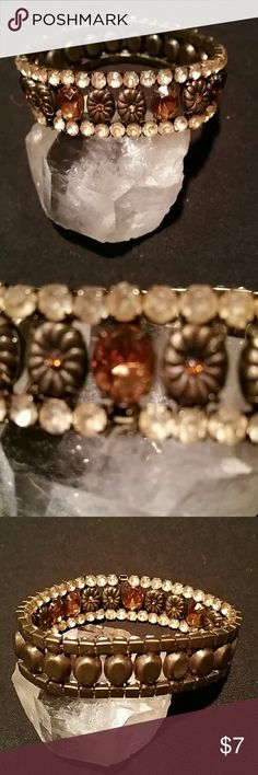 Vintage Stretch Bracelet With Amber Beads Very old vintage stretch bracelet with one stone missing as shown in pictures 2 & 3.  Missing stone is barely noticeable. Jewelry Bracelets