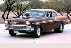 The 1956 Bel Air received a face-lift with a more conventional full-width grille, pleasing those customers who didn't favor the Ferrari-inspired '55 front end. #chevy #legendary chevy #best chevy #classic car American Classic Cars, American Muscle Cars, Bel Air, Ferrari, Vehicles, Chevy Classic, Inspired, Street, Brown
