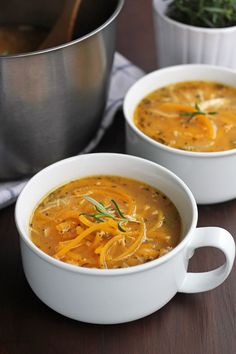 Rosemary and Butternut Squash Chicken Noodle Soup Recipe: Spiralized butternut squash replaces noodles for a gluten-free, hearty soup!