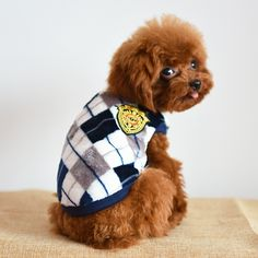 High Quality Pet Dog Fall And Winter Clothes British Diamond Lattice Flannel Printing Casual Classic Vest Three Color Options