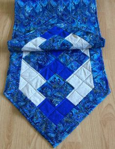 """Vibrant 56"""" royal blue runner ideal for dining table, dresser, or as a bed scarf by NewEnglandPatches"""