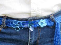 DIY Cinturón lana, esmalte y plástico