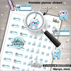 Dentist Stickers Printable Planner Stickers Tooth by LetsPaperUp