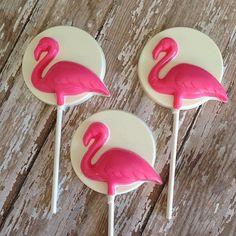 12 Chocolate Flamingo Lollipops Beach Party Luau Birthday Baby Shower Wedding Favors Sweets Table