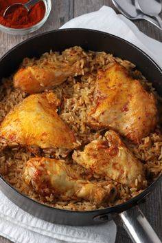 My grandma's paprika chicken and rice recipe is so easy and so delicious! It's all made in one pot, so the rice gets unreal chicken and paprika flavor.