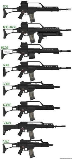 H&k Assault Rifle Variants\ Find our speedloader now…H&k Assault Rifle Variants. The is probably one of my favorite rifles of all timeThis image shows all the different variants of a assault rifle. The model I am doing for PRM has some of the same chara Weapons Guns, Airsoft Guns, Guns And Ammo, Assault Weapon, Assault Rifle, Bataille De Waterloo, Heckler & Koch, Survival, Battle Rifle