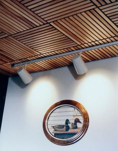 Living room decorating : Wooden Ceiling Panels with Wall Art concept