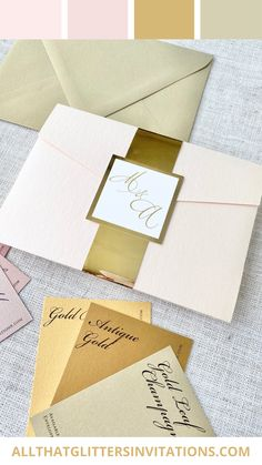 Color Scheme: Blush and Gold Blush Pink Wedding Dress, Blush Wedding Flowers, Pink And Gold Wedding, Gold Wedding Theme, Blush And Gold, Whimsical Wedding Invitations, Traditional Wedding Invitations, Glitter Wedding Invitations, Pocketfold Invitations