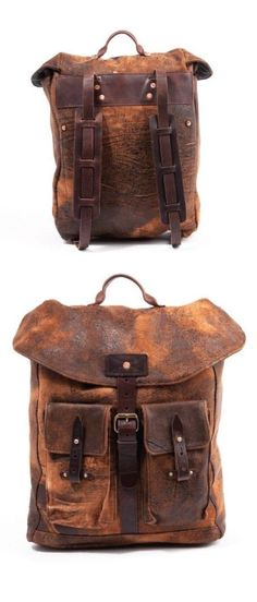 Billy Reid's Distressed Backpack My two loves.leather and backpacks. Backpack Bags, Leather Backpack, Leather Satchel, Fashion Bags, Mens Fashion, Estilo Hippie, Leather Men, Distressed Leather, Leather Bags