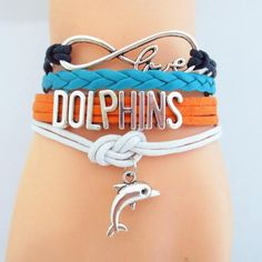NFL Miami Dolphins Football Team Bracelet
