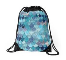 Teal Mermaid Fish Scale Drawstring Bag | Design by Monika Strigel