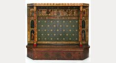 Zodiac Settle by William Burges ~ Wood inlaid with glass, crystal & slips of vellum