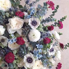 Dusty Blue and Cranberry Hued Bouquet