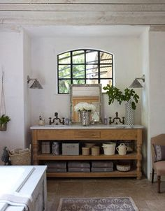 Bathroom by decorology, via Flickr  note: black trim window, white plaster walls, natural elements ♥