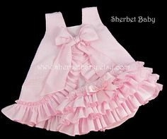 Seersucker Set Ruffled Pinafore and Sassy Pants by SherbetBaby