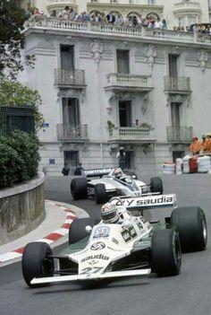 Alan Jones (Williams and Nelson Piquet (Brabham Monaco Grand Prix 1980 Monte Carlo, Williams F1, Classic Race Cars, Monaco Grand Prix, Race Engines, Formula 1 Car, F1 Racing, Road Racing, Vintage Race Car
