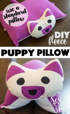 DIY Puppy Pillow {free sewing pattern - for a standard bed pillow} — SewCanShe   Free Daily Sewing Tutorials