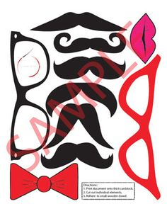 DIY Photo Booth Props Mustache on a Stick - Printable Template - Wedding Party Mustache Props. $3.00, via Etsy.