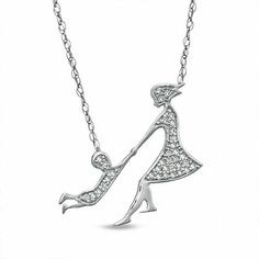 9aad159331ff 1 10 CT. T.w. Diamond Play Time Necklace in 10K White Gold