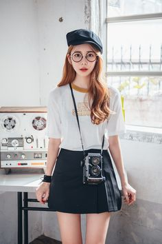 OLD SCHOOL Contrast Neck T-Shirt CHLO.D.MANON | #cute #nerd #tee #seoul #trend…