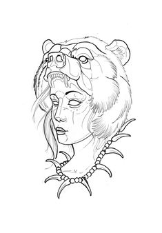 Flash Art Tattoos, Body Art Tattoos, Sleeve Tattoos, Tattoo Design Drawings, Tattoo Sketches, Native American Tattoos, Bear Mask, Mask Drawing, Wild Tattoo