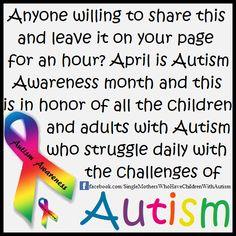 April is Autism awareness month https://www.facebook.com/dorset.adhd