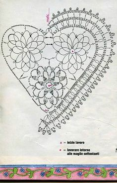 Knitted Heart Pattern, Granny Square Crochet Pattern, Crochet Diagram, Filet Crochet, Crochet Motif, Crochet Doilies, Crochet Stitches, Crochet Christmas Decorations, Crochet Ornaments