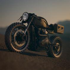 cafe racer, Desert Sled, Design, Inverted Forks, Motorcycle Art, Triumph, doomsday motorcycle, Triumph cafe racer,