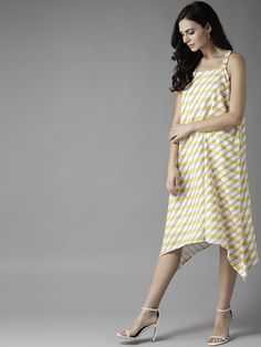 dd4aa25e45 Buy Moda Rapido Women Yellow   Off White Striped A Line Dress - Dresses for  Women