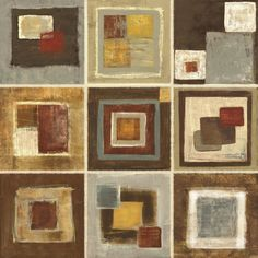 '9 Tiled' by Jenny Siekmann Painting Print on Wrapped Canvas