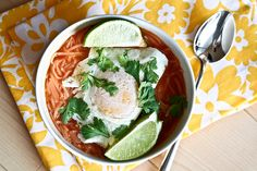 Thai Curry Lime Noodle Soup w/Fried Egg.  Use vegetable stock instead of chicken stock.