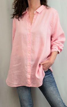 614dc74e6a J Jill Love Linen 100% Linen L Sleeve Button Down Oversize Shirt Pink Sz XL   JJill  ButtonDownShirt