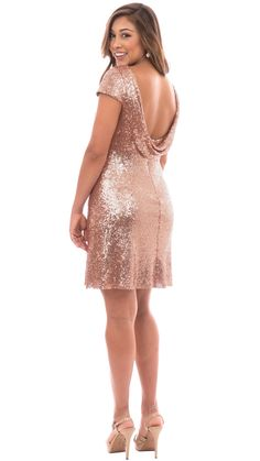 Chloe Cocktail Dress in Blush Pink, Rose Gold or Navy from Revelry - $175.