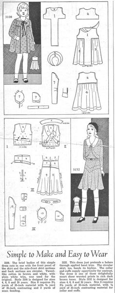 Simple To make and Easy To Wear - Girls Dresses from 1931
