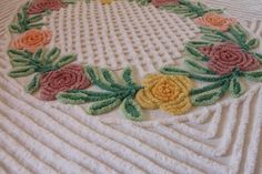 ~MSB~ Vintage Chenille Bedspread Thick Plush Floral, yellow, peach, rose pink