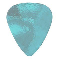Aqua Blue Glass Design Plectrum