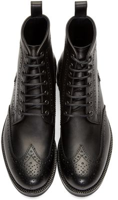 Dsquared2 Black Leather Brogue Boots