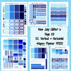 New July Colored Glitter Kit! | Free Printable Planner Stickers from plannerproblem.wordpress.com!  6 pages available for the Erin Condren Vertical, Horizontal, and Happy Planner! Download for free at https://plannerproblem.wordpress.com/2016/07/04/new-july-glitter-kit-free-printable-planner-stickers/