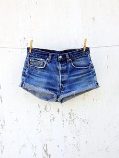80s High Waist Levi 501 cut off jean shorts 29 waist  distressed faded festival boho on Etsy, $28.00