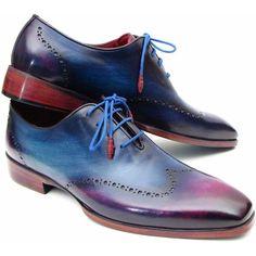 Paul Parkman Men's Blue Purple Wingtip Oxfords Shoes ($445) ❤ liked on Polyvore featuring men's fashion and men's shoes