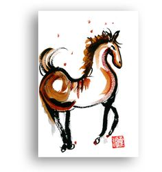 Chinese Horse - Year of the Horse for 2014 Chinese Zodiac  Zen Sumi Ink Painting