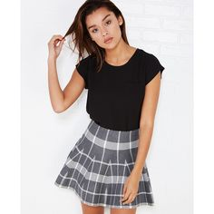 Max Imports  Posh Prepster Plaid Skater Skirt ($17) ❤ liked on Polyvore featuring skirts, charcoal, wet seal, stretchy skirt, circle skirt, knee length flared skirts, preppy skirts and preppy plaid skirt