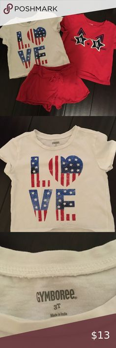 NWT Carter's Baby Girl 18 Months Patriotic Outfit 4th of July Shorts T Shirt
