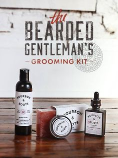 The Bearded Gentleman Grooming Kit features a specially designed scent that captures the essence of the sweet and fruity tones of aged bourbon. The grooming kit includes: 4 oz. Beard Wash 4 oz. Body Soap 1 oz. Beard Balm 1 oz. Beard Oil Burlap Travel Bag #bourbonandboots