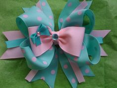 Aqua and pink polka dot boutique hairbow by kikibowz on Etsy, $6.00