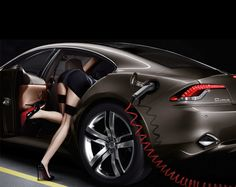 """From Fisker Automotive PR: Featuring the work of avant-garde fashion photographer Miles Aldridge (Vogue, Cartier, Hugo Boss) and Academy Award-nominated cinematographer Wally Pfister (Inception, The Italian Job, The Dark Knight), """"Pure Driving Passion"""" changes the way cars are traditionally marketed, aims to educate consumers to the benefits of plug-in hybrid technology, and shows that environmentally conscious vehicles can be sexy."""