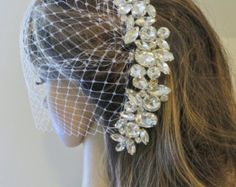 Birdcage Bridal Veil Bandeau Wedding Veil Blusher by ctroum