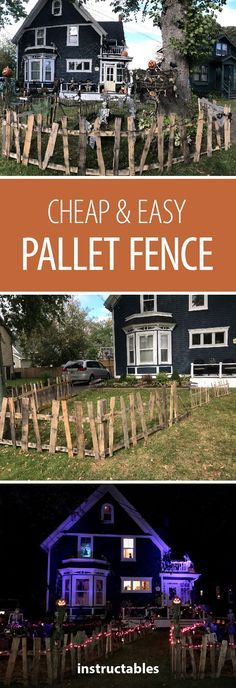Halloween Pallet Fence Find out how you can upcycle pallets (or other scrap wood) in to a cheap and easy creepy fence to add the perfect touch to our Halloween decorations! The post Halloween Pallet Fence appeared first on Halloween Decorations. Halloween Tags, Halloween Prop, Diy Halloween Fence, Halloween Palette, Porche Halloween, Outside Halloween Decorations, Halloween Veranda, Casa Halloween, Halloween Outside